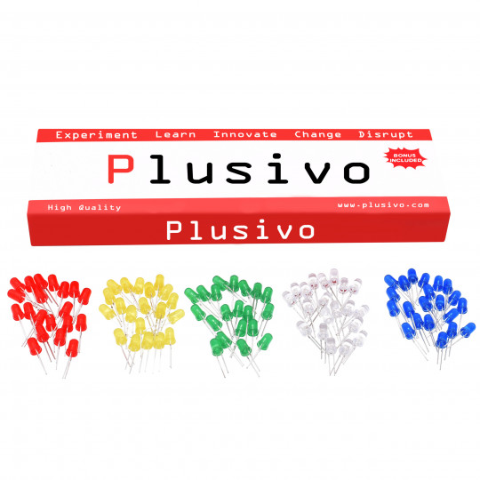 Plusivo 3mm and 5mm Diffused LED Light Emitting Diode Assortment Kit with Bonus Resistor Pack