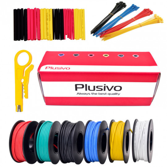 22AWG Hook up Wire Kit -  600V Tinned Stranded Silicone Wire of 6 Different Colors x 7 m (23 ft) each