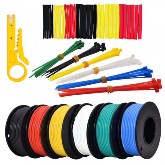 24AWG Hook up Wire Kit -  600V Tinned Stranded Silicone Wire of 6 Different Colors x 9 m (30 ft) each