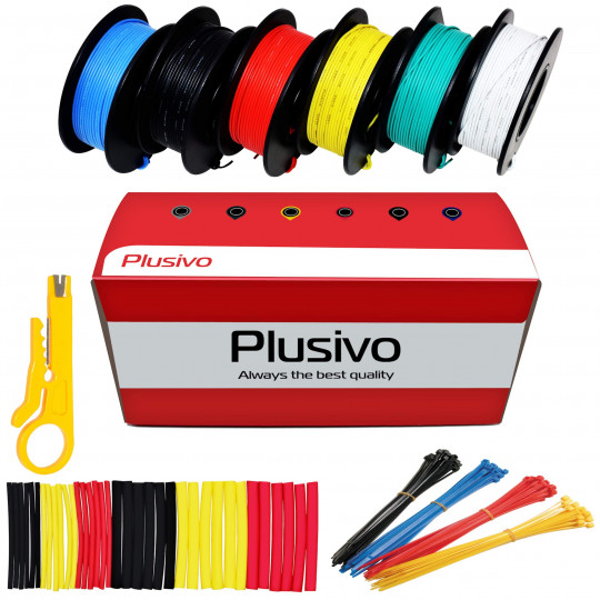 30AWG Hook up Wire Kit - 6 Different Colors x 20 m (66 ft) each