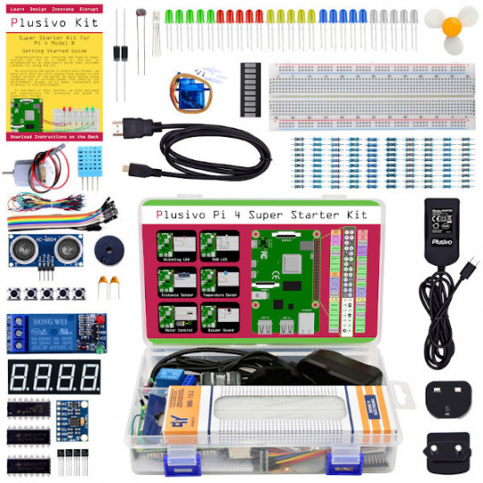 Plusivo Pi 4 Super Starter Kit without Raspberry Pi and without NOOBs - EU and UK interchangeable plug