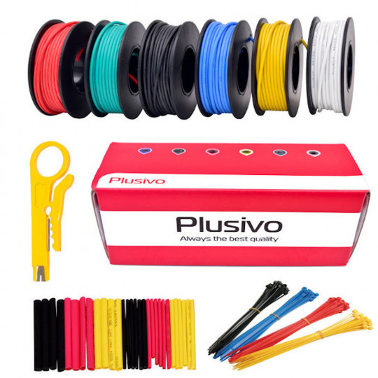 18AWG Hook up Wire Kit - 600V Tinned Stranded Silicone Wire of 6 Different Colors x 5m  (16 ft) each