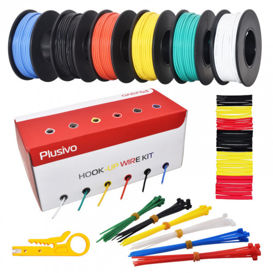 20AWG Hook up Wire Kit - 600V Pre-Tinned Solid Core Wire of 6 Different Colors x 7m (23ft) each