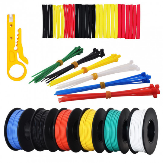 24AWG Hook up Wire Kit - 600V Pre-Tinned Solid Core Wire of 6 Different Colors x 11m (36ft) each