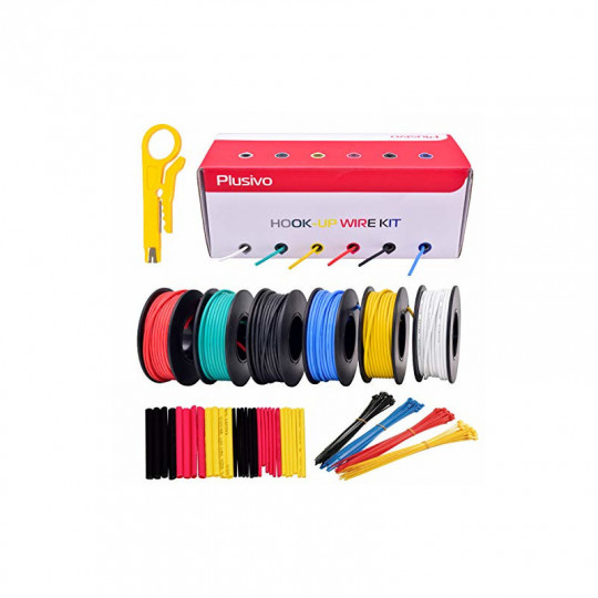 20AWG Hookup Wire Kit - 600V Tinned Stranded Silicone Wire of 6 Different Colors x 7m  (23 ft) each