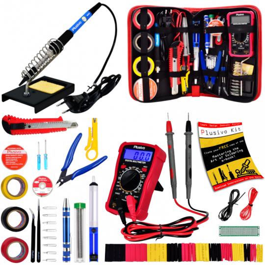 Soldering Iron Kit with Digital Multimeter (EU Plug)