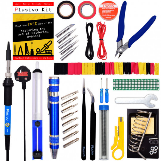 Plusivo Soldering Kit (UK Plug) With Diagonal Wire Cutter